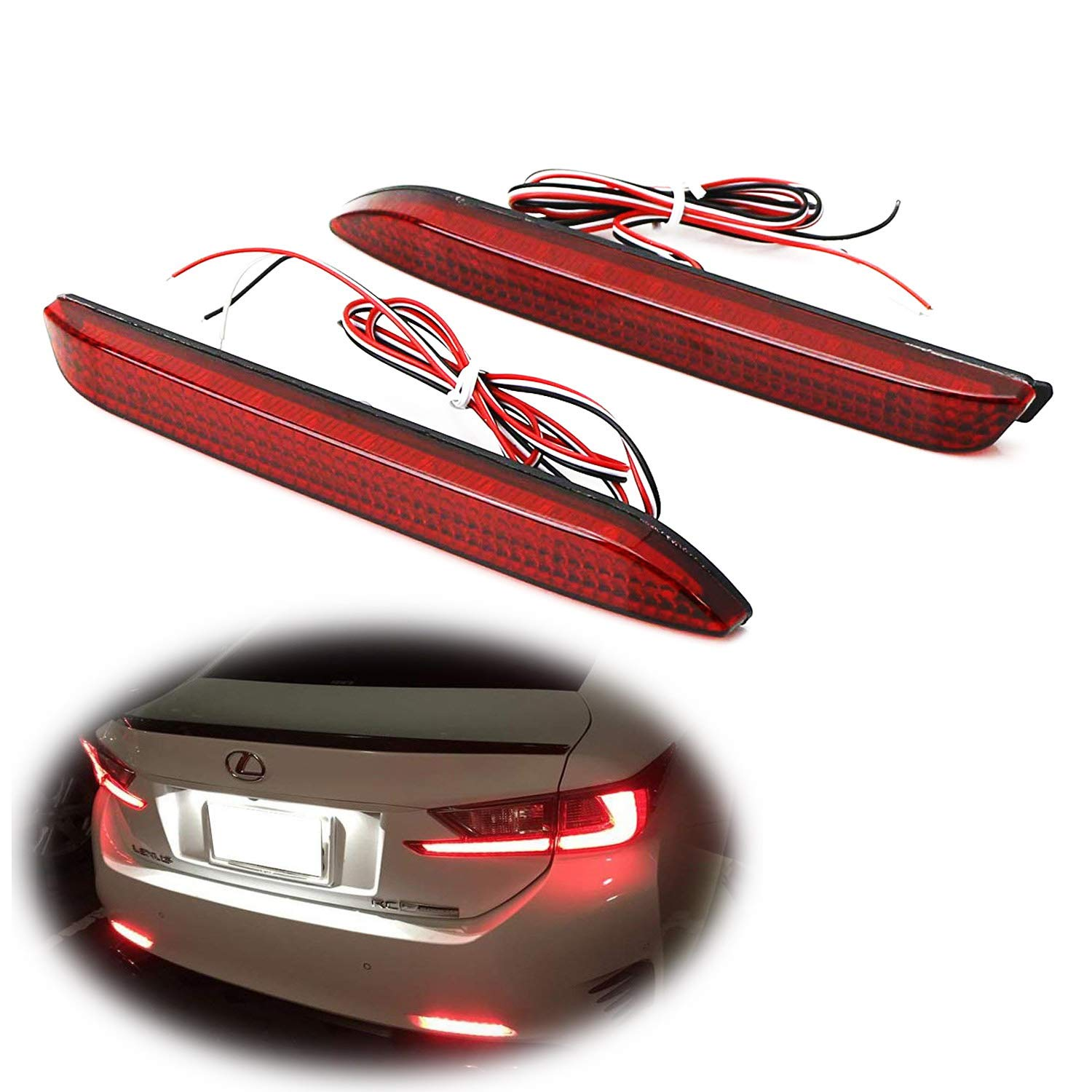 Ijdmtoy Red Lens 42 Smd Led Bumper Reflector Lights For Toyota Matrix Tail Light Wiring Diagram Lexus Rc Nx Is F Gx Etc Function As Brake Rear Fog Lamps Automotive