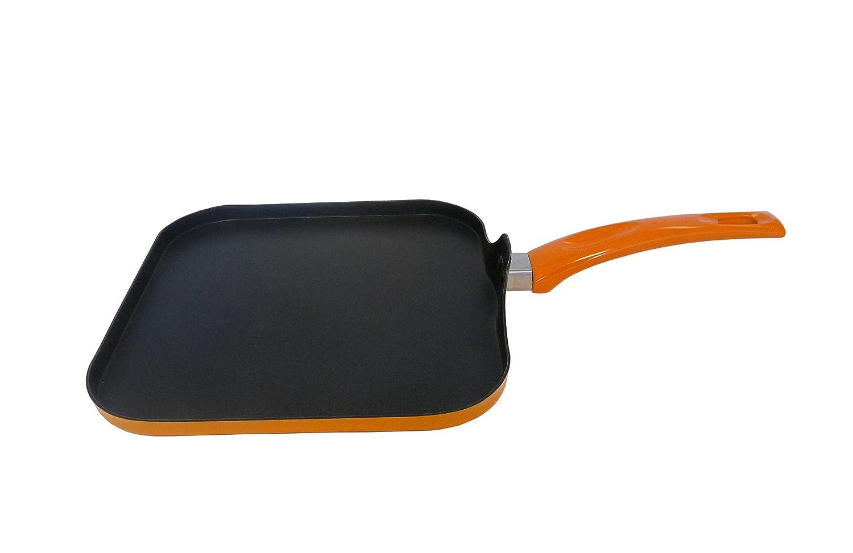 Orange IMUSA USA IMU-22005 Aluminum Square Griddle 10.5-Inch