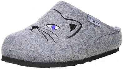 TOFEE Kinder Jungen Mädchen Hausschuhe Katze grau