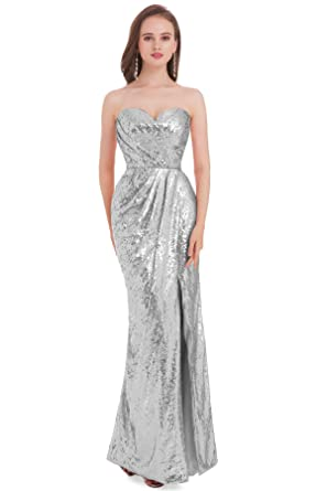 Jydress Womens Sweetheart Strapless Sequins Formal Party Gown Prom