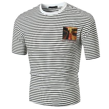 73431d382bed Elogoog 2018 Summer Hot Sale Fashion Mens Short Sleeve Stripe T-Shirts Slim  Fit Crew