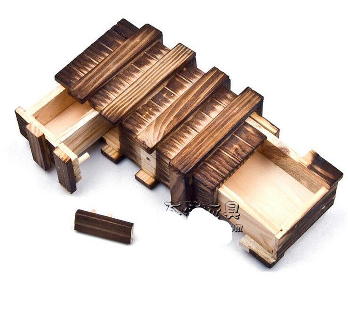 3 Open Box Magic Toys Carbonized Wooden Box Hole Ming Lock Jackdaine