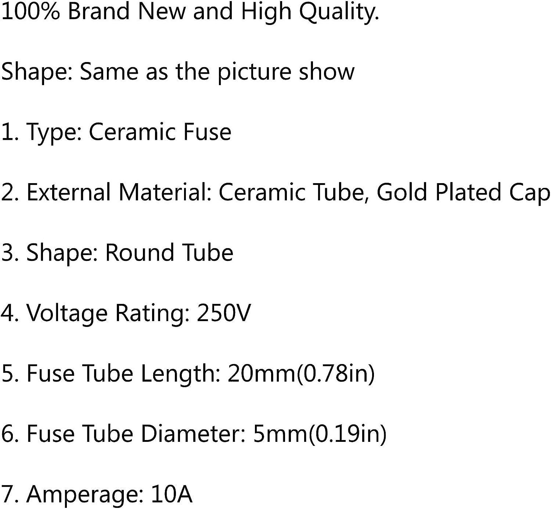 Yashikeji 5/x 20/mm 250/V en c/éramique fusible Tube rapide fusible /à fusion