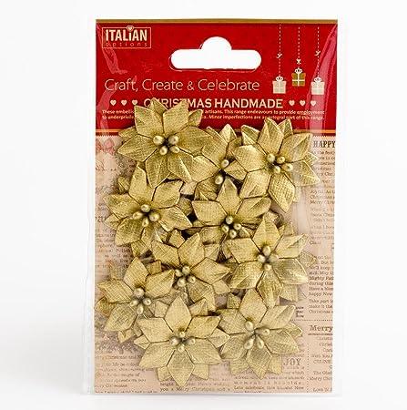 Hecho a mano papel de pequeñas de color Dorado Metálico de Navidad flores de pascua 10 Pack Tarjeta haciendo: Amazon.es: Hogar