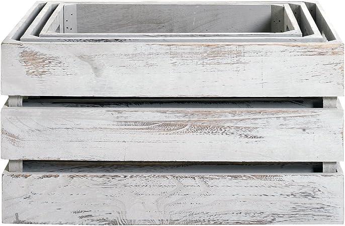 Rebecca Mobili Juego 3 Cajas de Madera, contenedores Shabby Vintage, Color Gris, hogar y jardín - Medidas: 21 cm x 39 cm x p 29 cm (AxANxF) - Art. RE4564: Amazon.es: Hogar