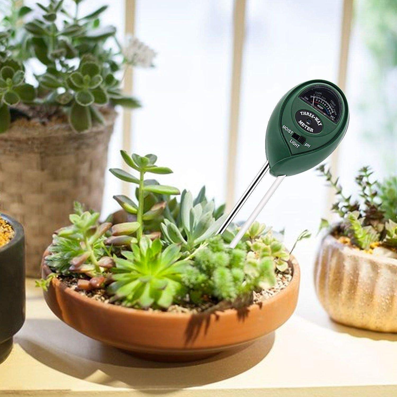 Yardwe Kit De Probador De Suelo 3 En 1 Medidor De Humedad Del Suelo Interior Luz Del Sol Exterior Acidez De Ph Para Jardinera De C/éSped De Granja De Cultivo Verde