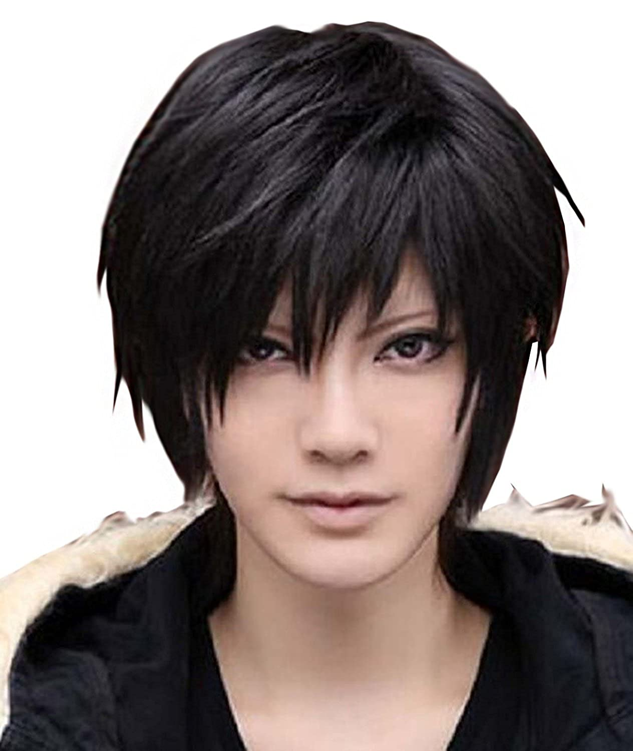 LYLAS Men's Beautiful Black Short Straight Hair Wig With Hair-net For Cosplay Party