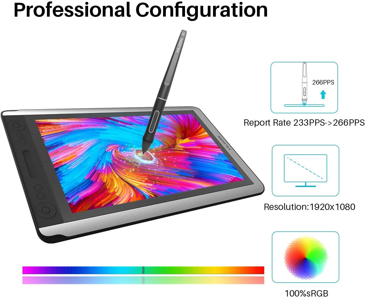 2019 Huion KAMVAS 16 Drawing Pen Display Monitor Graphic Monitor Tilt Function Battery-Free Stylus 8192 Pen Pressure 15.6 Inches