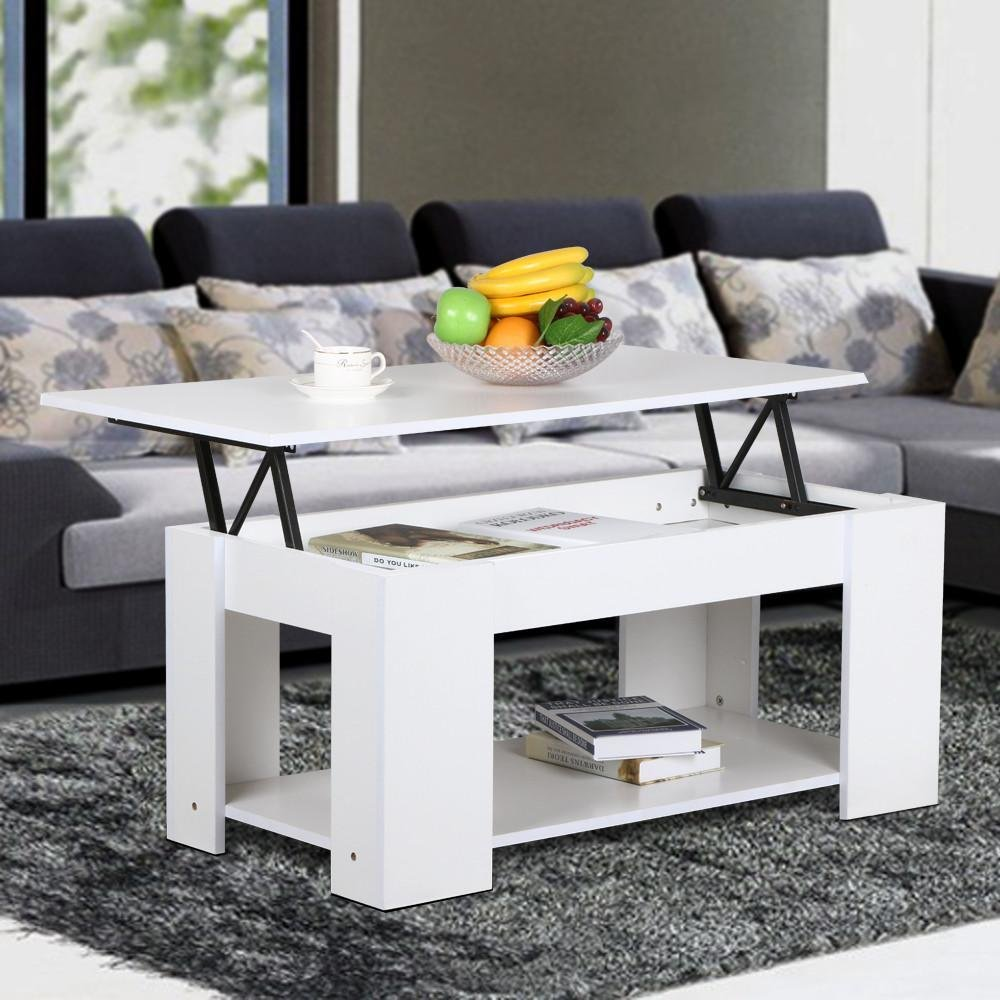 Yaheetech Modern Lift-up Top Tea Coffee Table w/Hidden Storage Compartment & Shelf White by Yaheetech