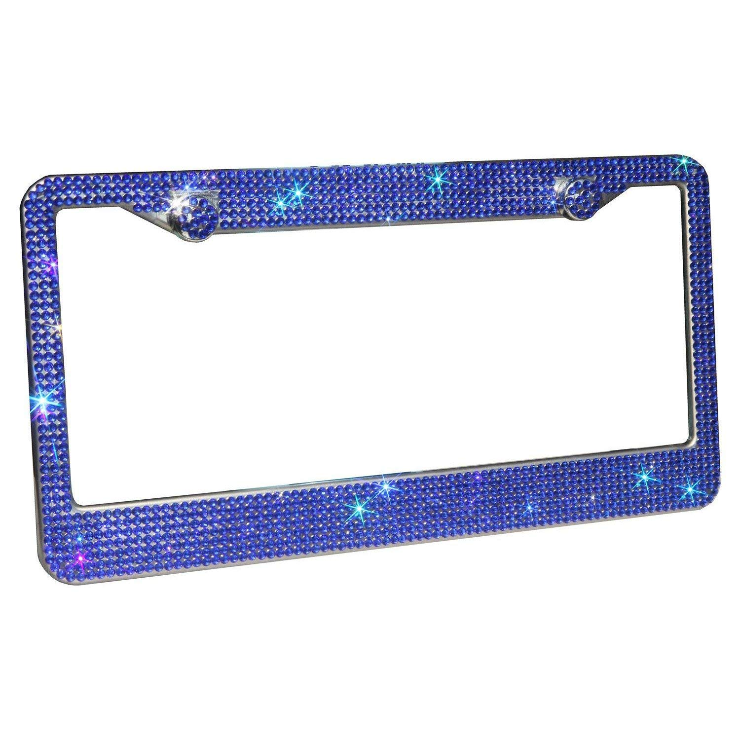 Luxury Pure Handcrafted Bling Rhinestone Premium Stainless Steel License Plate Frame for Cars with Anti-Theft Screws Caps Set Blue Crystal CCTRADE 2 Pack Bling License Plate Frames