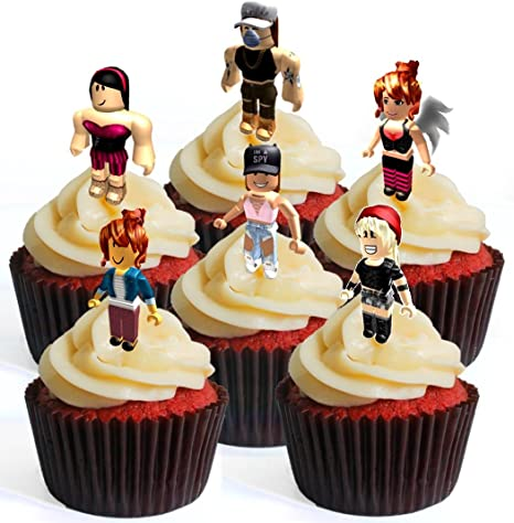 12 Roblox Character Girl 1 Precut Edible Cupcake Toppers Stand