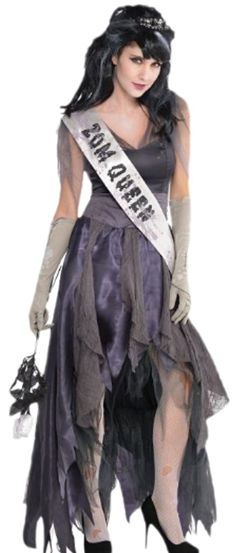 Confettery - Damen Zombie Ballkönigin Kostüm, Halloween, XL, Grau