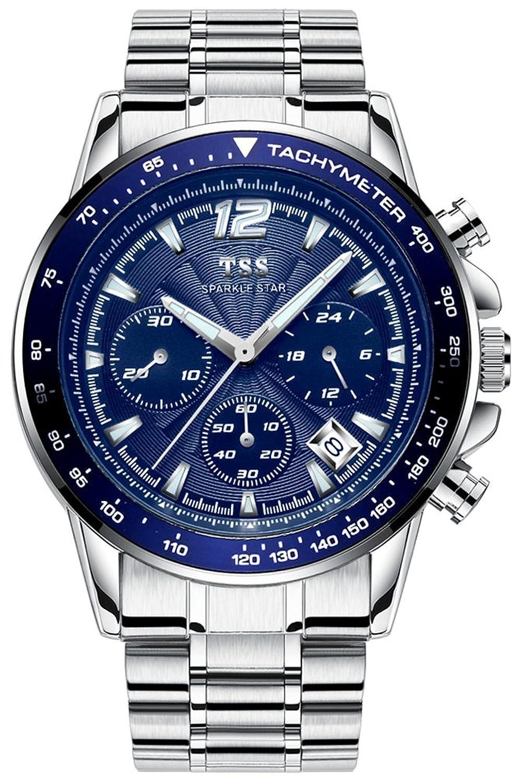 TSS Herren-t5023 C4 Quarz Chronograph Diver Blende Armbanduhr mit Edelstahl Band