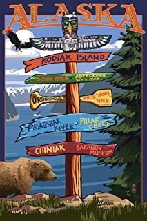 product image for Kodiak Island, Alaska, Destinations Sign 33372 (16x24 SIGNED Print Master Art Print, Wall Decor Poster)