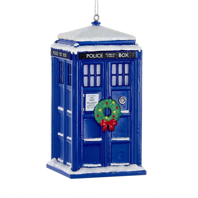 Kurt Adler Doctor Who Tardis With Wreath Light-up Christmas Ornament