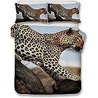 Helengili 3D Digital Printing Bedding Set Snow Leopard Bedding Bedclothes Duvet Cover Sets Bedlinen 100 Percent Microfiber Present