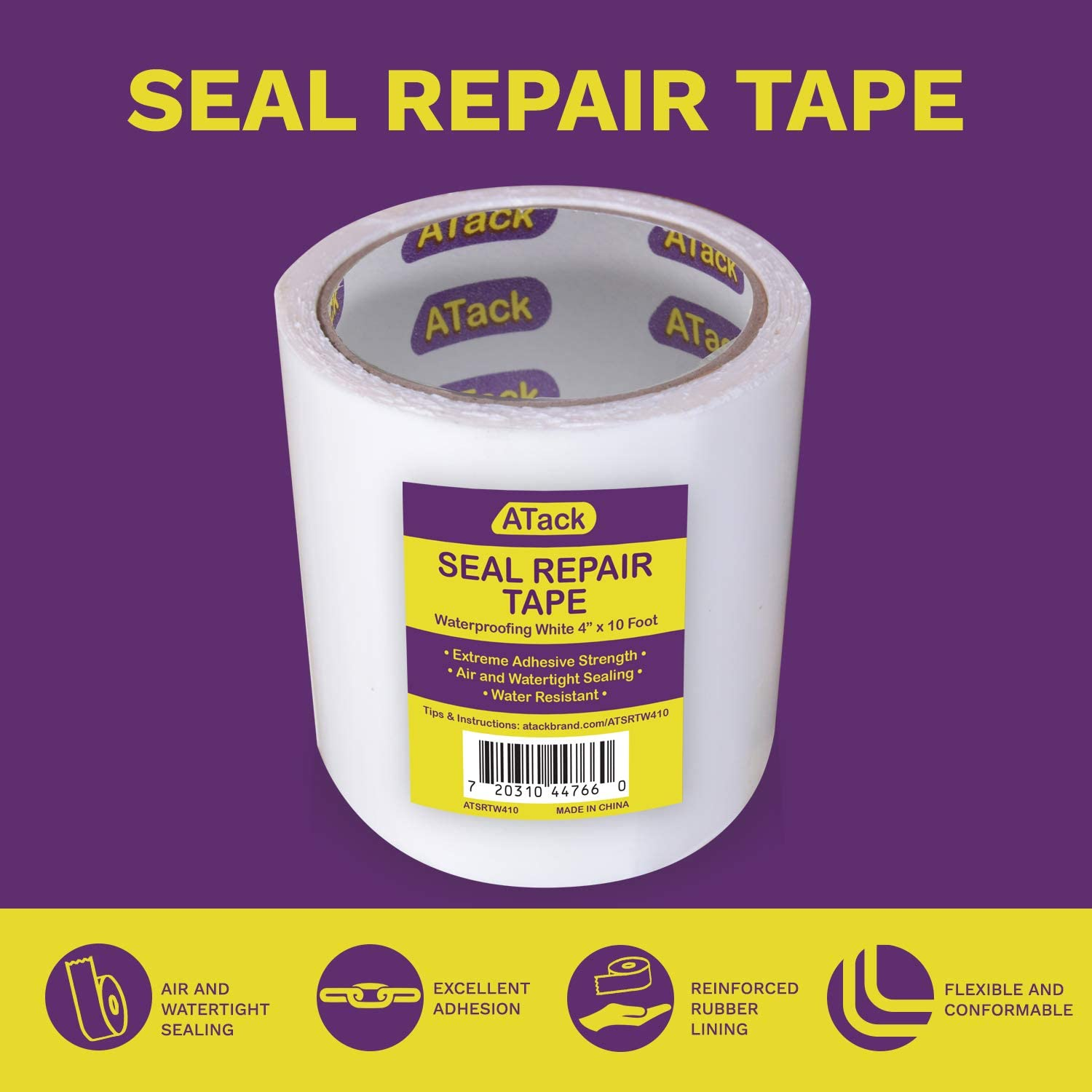 Roof Chimney Clear ATack Waterproof Patch and Seal Tape 4 Inches x 10 Feet Water Barrier Tape for Stop Leak Repair on Pipes and HVAC Boat