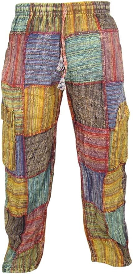 60s – 70s Mens Bell Bottom Jeans, Flares, Disco Pants Little Kathamandu Cotton Patchwork Summer Casual Elastic Drawstring Trousers $46.00 AT vintagedancer.com