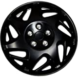 TuningPros WSC-007BB15 Hubcaps Wheel Skin Cover 15-Inches Matte Black Set of 4
