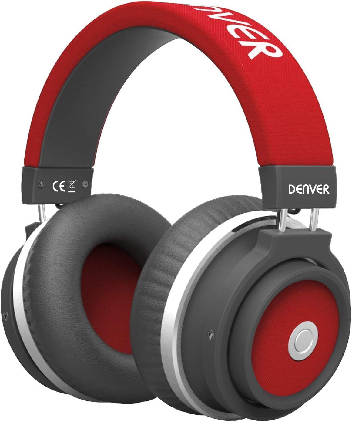 Denver BTH 250RD Auricular Bluetooth de Diadema con batería Recargable