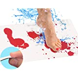 Bloody Bath Mat Sheet – Invisible Color Changing Sheet Turns Red When Wet – Hides on Bathroom Floors – Bloody Footprints That Disappear in Minutes – Red/White - Regular Size 16x39in (42x100cm)