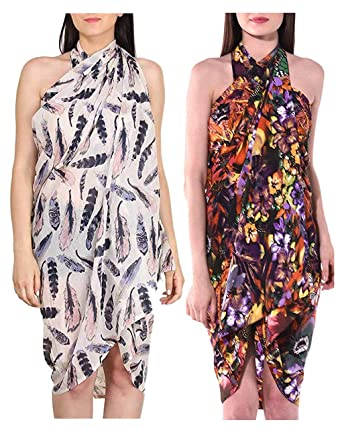 c61a25fe17 INDIAN FASHION GURU Women's Poly Cotton and Crepe Beautiful Beach Wear  Sarong Pareo Wrap Swimsuit Cover
