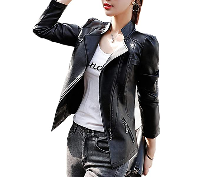 XS-6XL Talla Grande Chaqueta de Cuero Mujer Primavera Otoño 2019 Abrigo de Piel sintética Mujeres Short Moto de Cuero Ropa de Abrigo Femenina: Amazon.es: ...