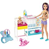 Barbie Nursery Playset with Skipper Babysitters Doll, 2 Baby Dolls, Crib and 10+ Pieces of Working Baby Gear and Themed Toys,
