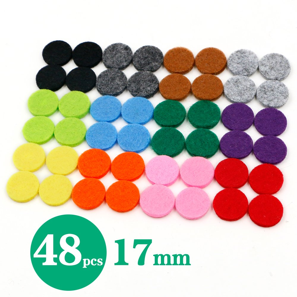 RoyAroma 17mm Replacement Felt Pads(48 pieces) For 25mm Essential Oil Diffuser Locket Pendant Necklace with 12 colors