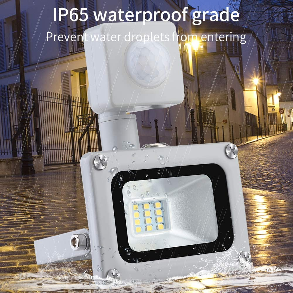 Induction LED Floodlight Security Spotlight 10W 800LM Waterproof IP65 Outdoor Indoor Work Light 6500K Cool White Landscape Lighting Fixtures for Backyard Garage Garden Warehouse Parking Lot