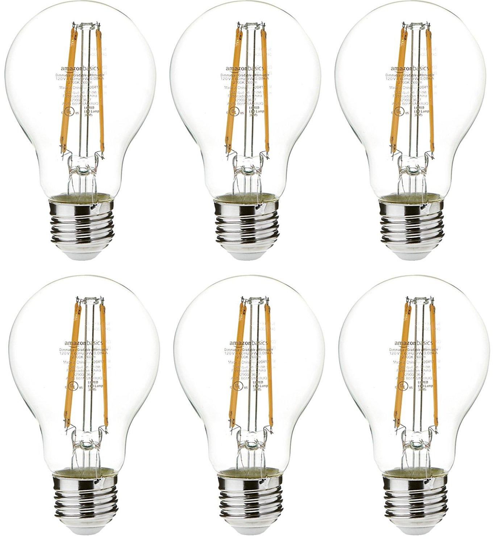 AmazonBasics 60 Watt Equivalent, Clear, Non-Dimmable, A19 LED Light Bulb | 6-Pack