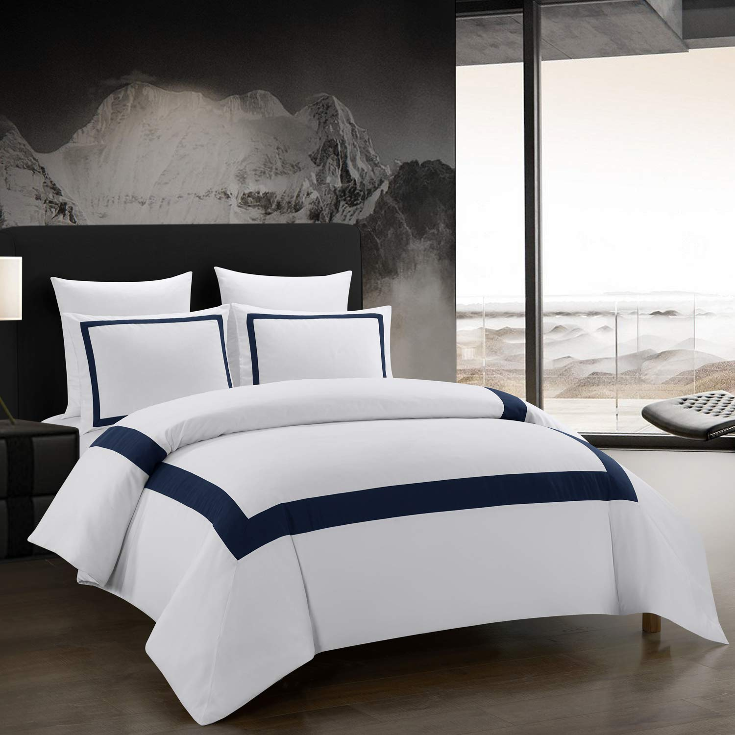 OSVINO 3 Pieces Microfiber Simple Line Style Duvet Cover and Pillow Shams Set Hotel Collection Ultra Soft Bedding Set with Zipper Closure, Navy, King