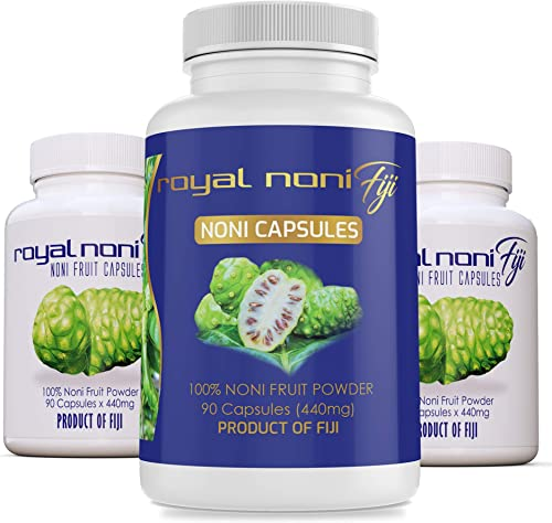 Organic Noni Capsules 440mg x 90ct Made in Fiji by Royal Noni Fiji Sustainably Grown and Harvested Fijian Noni 100 Natural Source of Antioxidant and Amino Acids for Energy Amazing Anti-Inflammatory