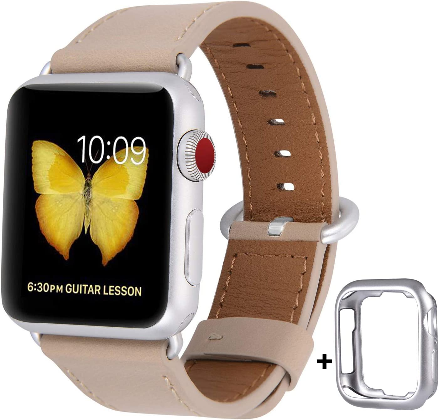 JSGJMY Compatible with Apple Watch Band 38mm 40mm 42mm 44mm Women Men Genuine Leather Replacement Strap for iWatch Series SE 6 5 4 3 2 1 (Light tan with Silvery White Clasp, 38mm/40mm S/M)