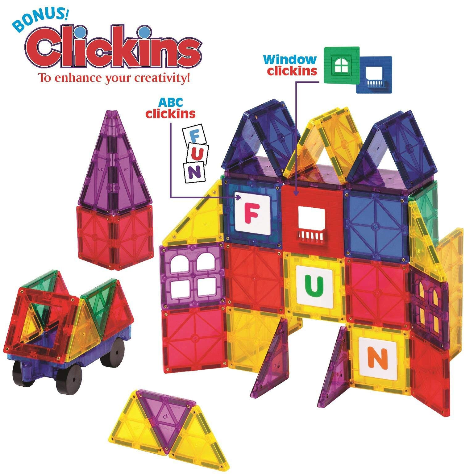 Playmags Clear Colors Magnetic Tiles Building Set 60 Piece Starter Set by Playmags (Image #5)