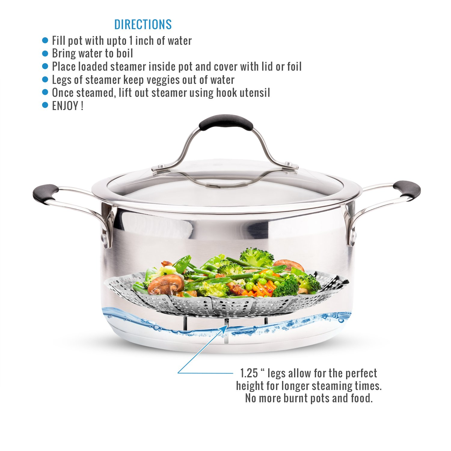 Pressure Cooker /& Instant Pot Accessories 100/% Stainless Steel Two-Pack Safety Tool Large and Standard Vegetable Steamer Basket Set Egg Rack Sensible Needs SYNCHKG107610 Pot in Pot 2X Steamer Inserts for Instant Pot