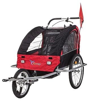 Fitfiu BI-TR-R Remolque de Bicicleta para Transporte, Unisex niños, Rojo