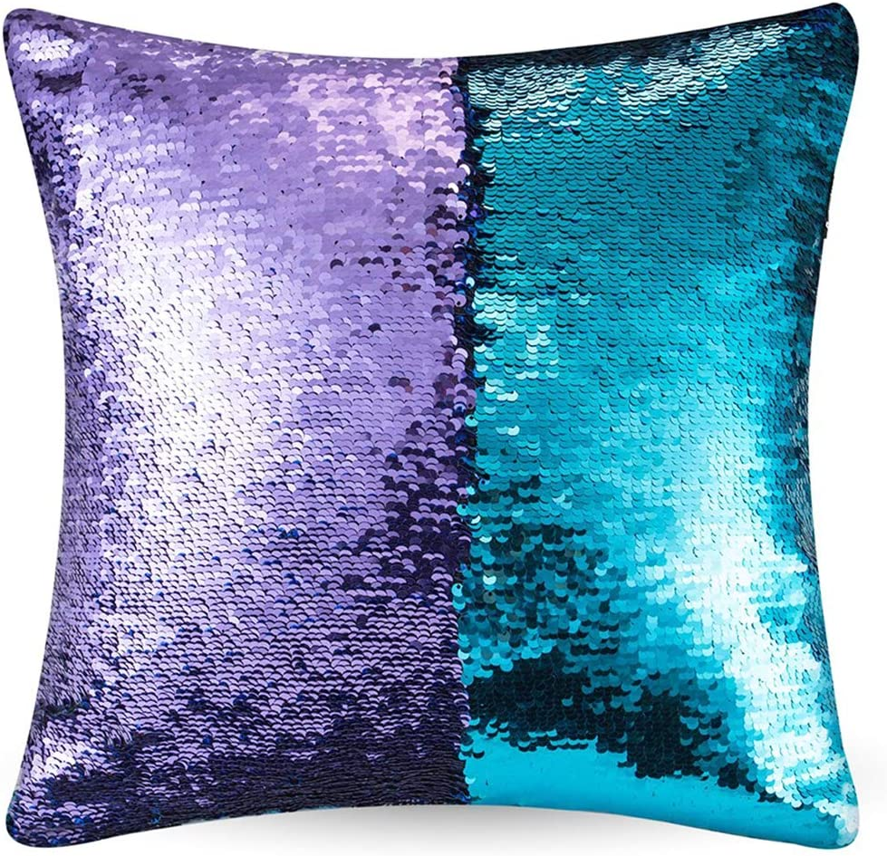 "URSKYTOUS Reversible Sequin Pillow Case Decorative Mermaid Pillow Cover Color Changing Cushion Throw Pillowcase 16"" x 16"",Turquoise and Purple"