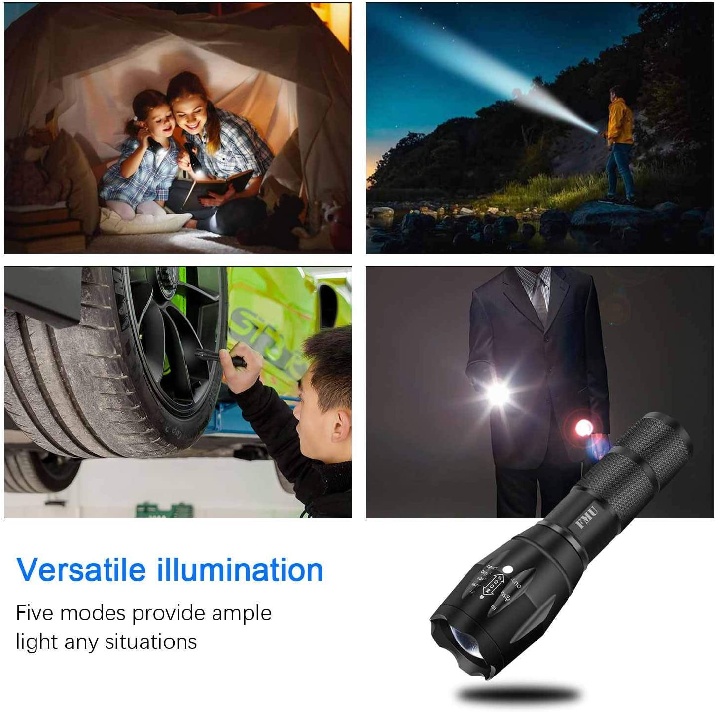 LED Tactical Flashlight, FMU Super Bright High Lumen Portable Outdoor Torch Light Zoomable Flashlight with 5 Light Modes, Emergency, Outdoor, Everyday Flashlights [2 PACK]