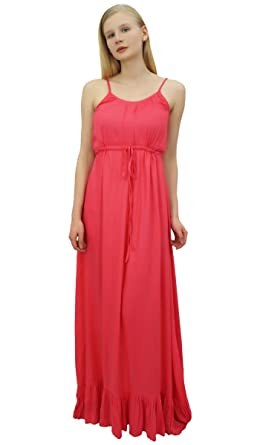 d15d77d3dda Bimba Women s Peach Maxi Spaghetti Strap Long Dress Casual Summer Sundress-8