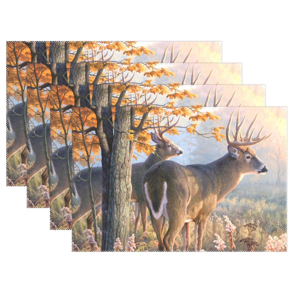 Naanle Animal Placemats Set of 4, Deer in Autumn Forest Heat-Resistant Washable Table Place Mats for Kitchen Dining Table Decoration