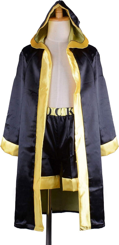 Classic Movie Clothes Apollo American Flag Children Boxing Costume Robe Cloak Hooded Shorts Kids Italian Stallion Suits Black, S