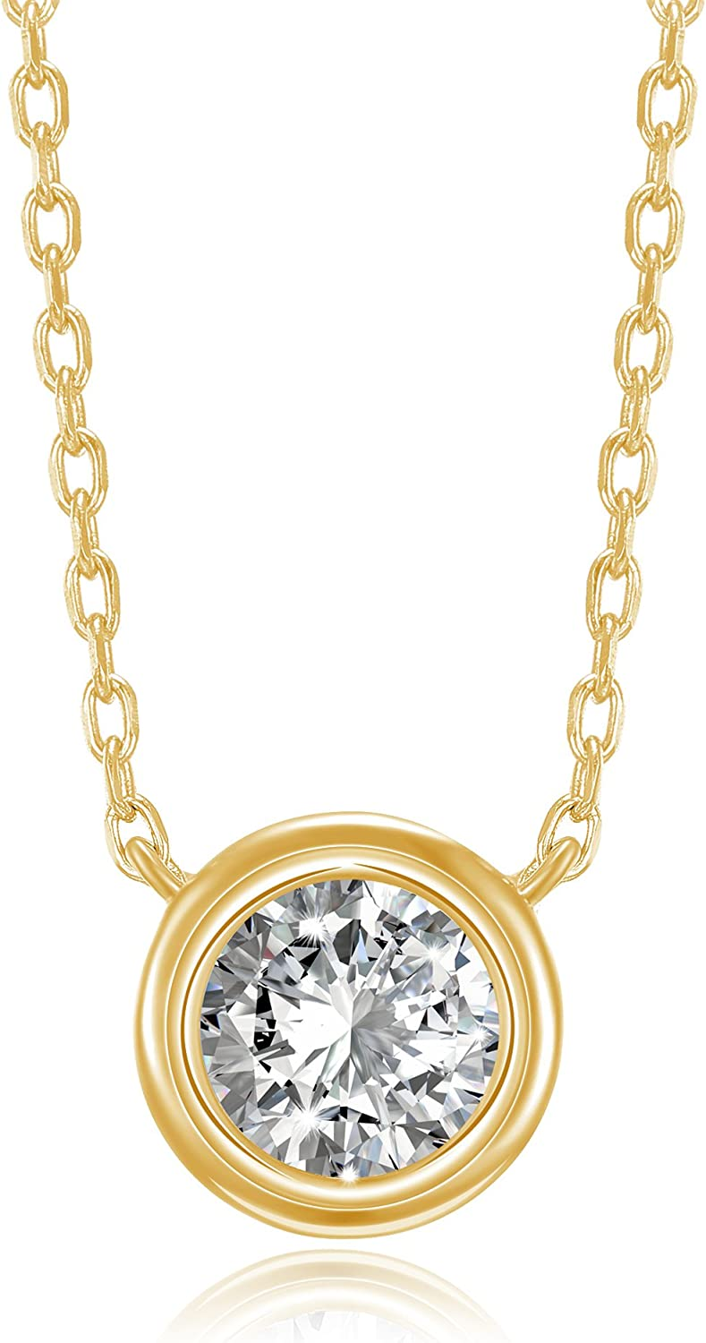 PAVOI 14K Gold Plated 1.00 ct (D Color, VVS Clarity) CZ Simulated Diamond Bezel-Set Solitaire Choker Necklace   Sterling Silver Necklace for Women