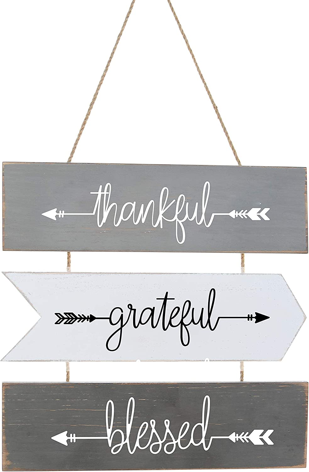 "Hanging Wall Sign 3-Set | Rustic Wall Decor, Welcome Sign Wall Art | Farmhouse Home Living Room Kitchen Decorations | House Warming Presents for Couple 18"" X 15"" (Gray)"