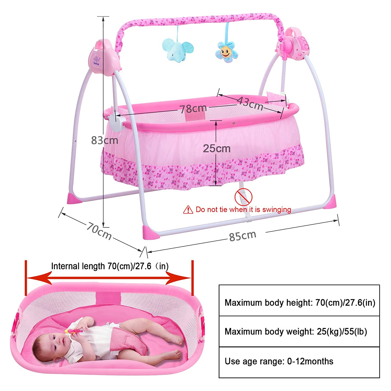 SANPIO Electric Cradle Baby Swing Bed Automatic Rocking Crib Basket Bassinet Newborn Rocker Infant cot Pink