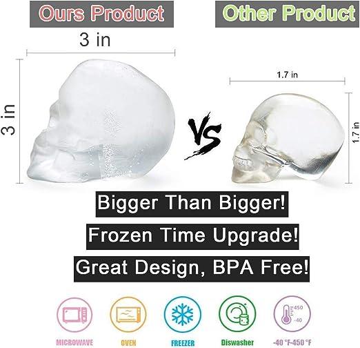 3D Teschio Flessibile in Silicone per cubetti di Ghiaccio per Bevande da Whisky Rende enormi Teschi congelati Senza BPA LAWOHO Ice Cube Trays Mold
