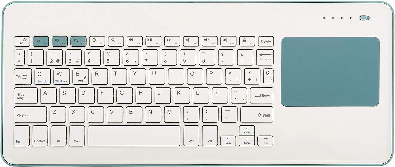 Silver HT - Teclado Inalámbrico con Touchpad para Smart TV, Smartphones, Tablets, iPhone, iPad y Videoconsolas - Blue