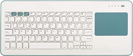 Silver HT - Teclado Inalámbrico con Touchpad para Smart TV, Smartphones, Tablets, iPhone, iPad y Videoconsolas - White + Blue. Teclado en Español. ...