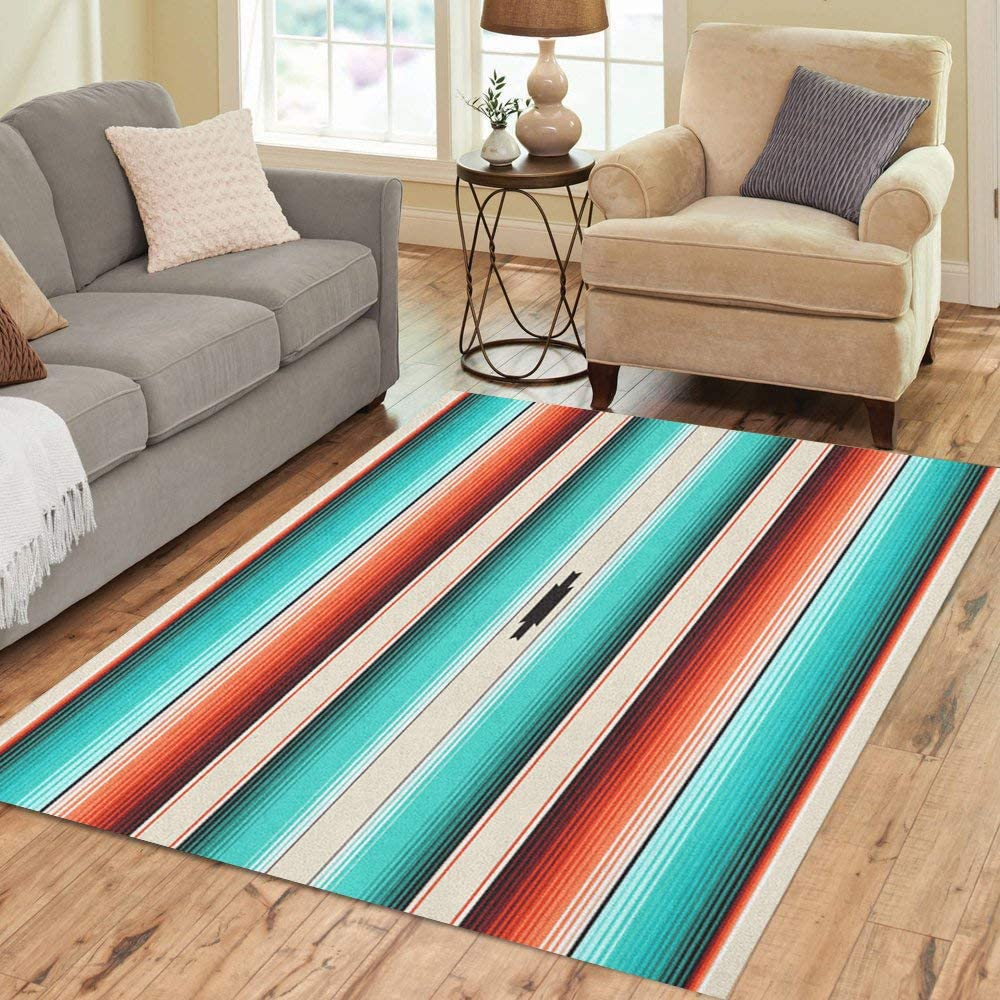 Pinbeam Area Rug Turquoise Orange Navajo White Stripes Pattern Mexican Serape Home Decor Floor Rug 5' x 7' Carpet