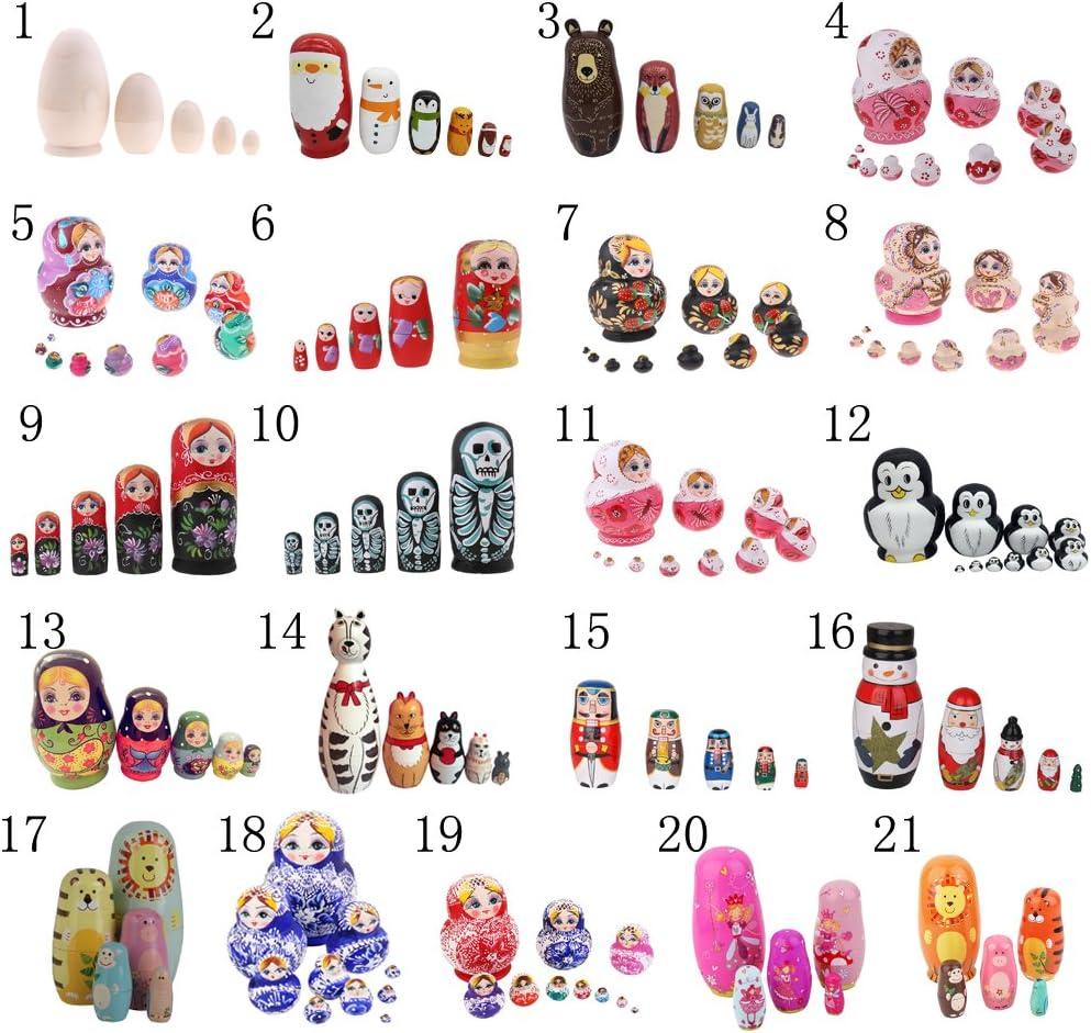 4.5 inches P Prettyia Set of 5 Blank Wooden Russia Nesting Dolls Russian Nesting Wishing Dolls Traditional Matryoshka Handmade DIY Craft